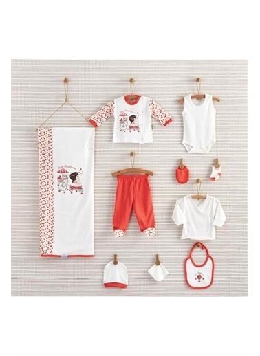 Nenny Baby Nenny Baby Nb111 %100 Pamuk Desenli Resim Baskılı Kız Bebek Sweet Strawberry 10' lu Hastane Çıkış Seti Somon